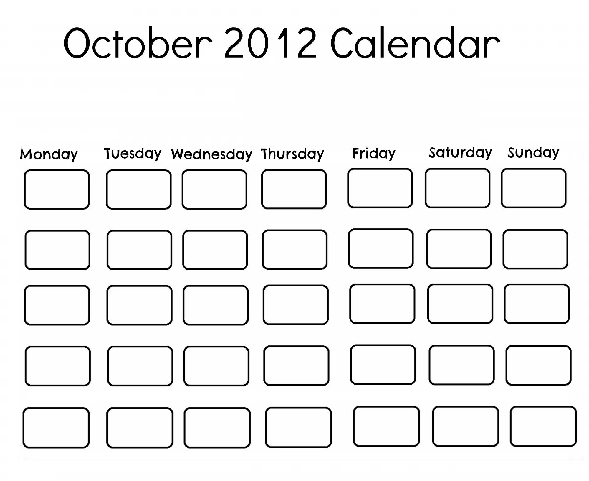 October 2012 Calendar Free printable 2012 calendars
